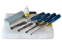 Stanley 4 Piece Chisel Set + Stone + Oil